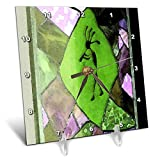 3dRose Jos Fauxtographee- Kayenta Decoration - A Design on a Window in Green and Purple with a Kayenta Look - 6x6 Desk Clock (dc_291082_1)