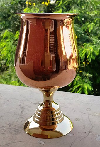 MAITHIL ART Hand-made Pure Copper Wine Goblet, Wine Glass Water Goblet/Silver Plated Brass Wine Goblets /Copper Moscow Mule Mint Julep Cup/ (Brass Base Pure Copper With Nickel Lined - Review Maui Sunglasses Jim