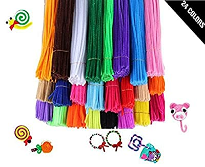 Babycola's Mum 240Pcs/24 Colors Creative Pipe Cleaners, Chenille Stems DIY Hand Twisting Bar, 12 inch x 6 mm - Multiolors - Fluorescent Colours - Great Gift for Your Kids
