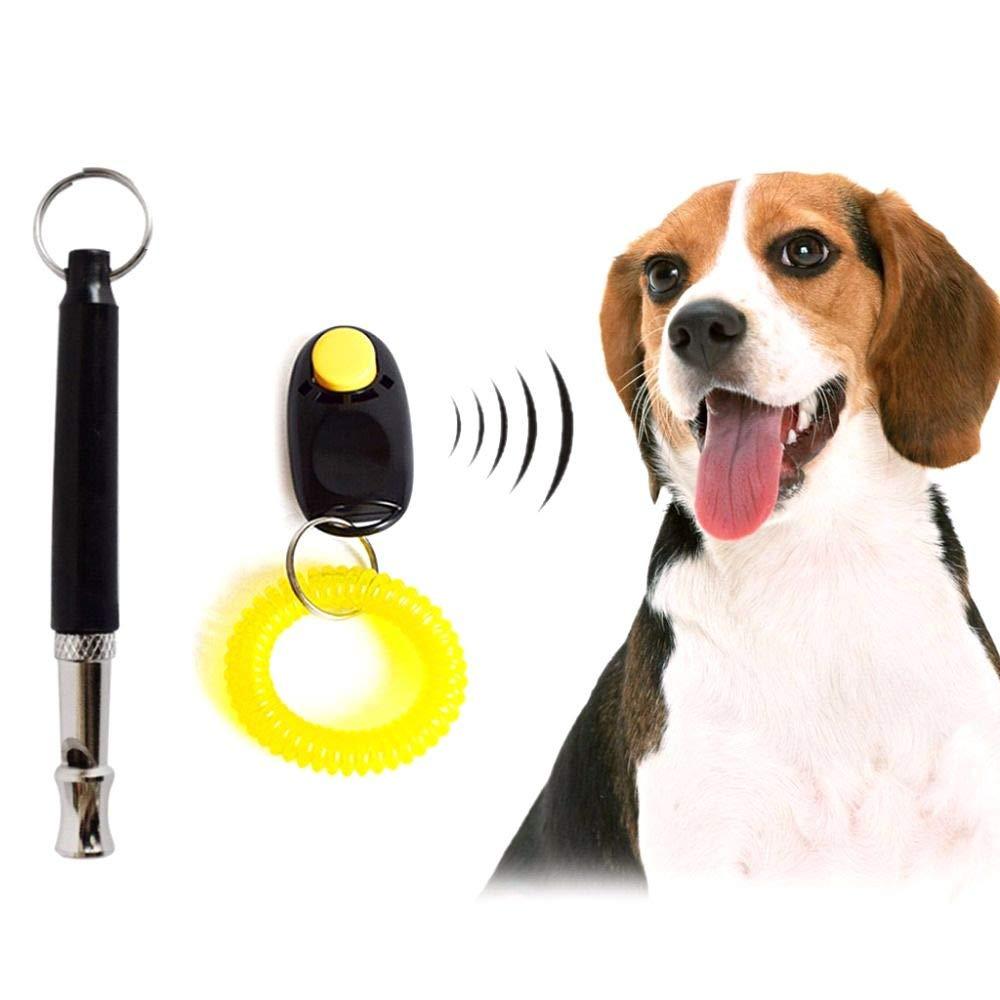 Pet Training Set Dog Training Ring Clicker Whistle Black Lanyard Convenient Effective Humanized Professional Design by MiZOELEC