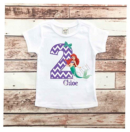 w//Name /& Age Birthday Outfit Personalize ARIEL Birthday T-Shirt