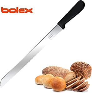 BOLEX 12 Inch Serrated Bread Knife Stainless Steel Wide Wavy Edge Knife Cake Slicer Multi-Purpose Kitchen Knife with Ergonomic Handle, Ultra Sharp Baker's Knife for Cutting Crusty Breads,Cake,Bagel