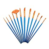 12 Pieces Miniature Paint Brushes,Chubby Paint Brushes with Nylon Hair,Professional Paint Brushes Artist for Watercolor Oil Acrylic Painting