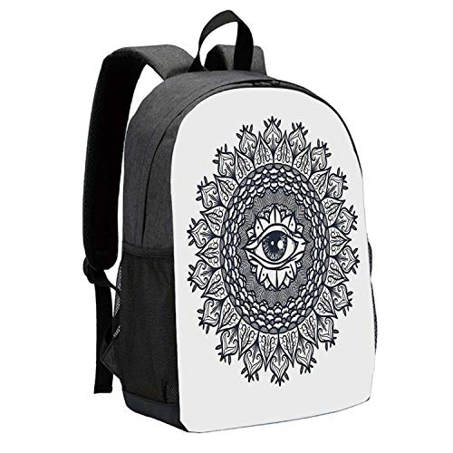 """Occult Decor Durable Backpack,Vintage Circular Occult Pattern Knowledge of the Hidden Third Eye Providence Symbol for School Travel,12""""L x 5""""W x 17""""H"""