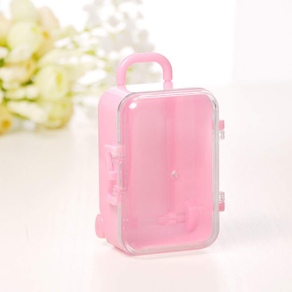 Academyus Mini Rolling Travel Suitcase Shape Candy Box Wedding Favors Party Gift Pink