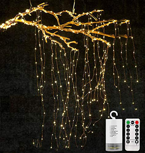 Starry Strands - Decorative Twinkle Starry Lights 11 Strands 220 Leds Waterfall Vine String Lights Battery Operated Silver Wire Branch lights with Remote Timer for Garden Outdoor Christmas Tree white (Warm White)