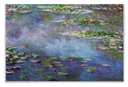 Monet Wall Art Collection Water Lilies, 1906 02 by Claude Monet Canvas Prints Wrapped Gallery Wall Art | Stretched and Framed Ready to Hang 24X32, 59MONET