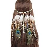 Feather Fascianator Headband Bohemian Tassels Hair Band Headwear for Women Girls