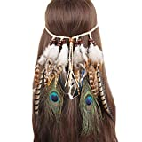 Sheliky Feather Fascinator Headband Bohemian Tassels Hair Band Headwear for Women Girls (Style 01)