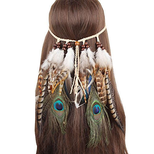 Indian Headress (Feather Fascinator Headband Bohemian Tassels Hair Band Headwear for Women)