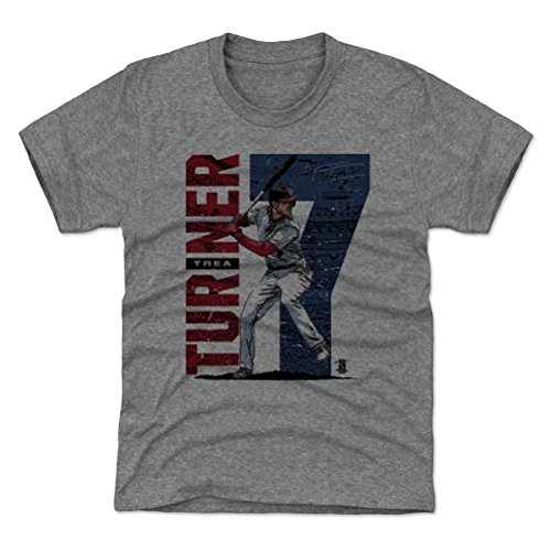 (500 LEVEL Washington Baseball Youth Shirt - Kids X-Small (4-5Y) Tri Gray - Trea Turner Stadium B)