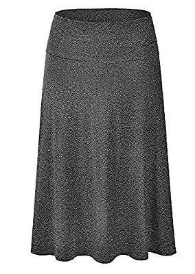 Womens Solid Basic Fold-Over Stretch Midi Short Skirt - Made in USA