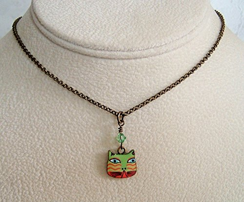 (Green Cat Antique Brass 18 Inch Necklace Gift Idea)