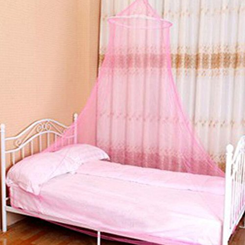 Tailbox King Size Mosquito Net, Circular Screen Netting Canopy Curtains with New Tear Resistant Loop for Double Bed Keeping Away Insects & Flies Perfect for Indoor & Outdoor (Pink)