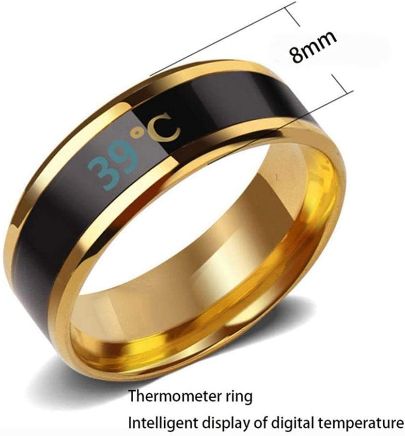 Suitable Size Titanium Steel Wave Rings-Silver-8# Digital Thermometer Body Temperature Sensor Smart Rings Wedding Couple Lovers Rings Temperature Monitor Rings