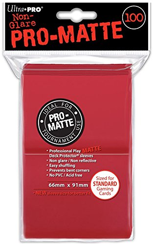 Ultra Pro- Pro-Matte Red Standard Deck Protectors (100), Color Rot (84516)