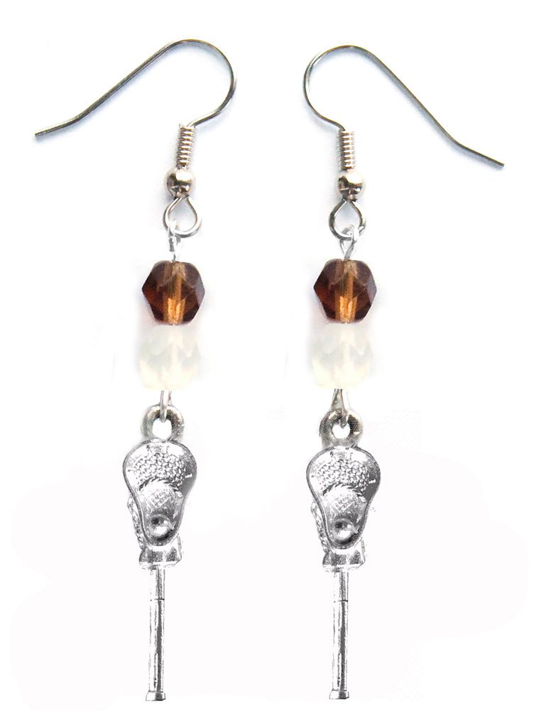 ''Lacrosse Stick & Ball'' Lacrosse Earrings (Team Colors Brown & White) by Edge Sports (Image #1)