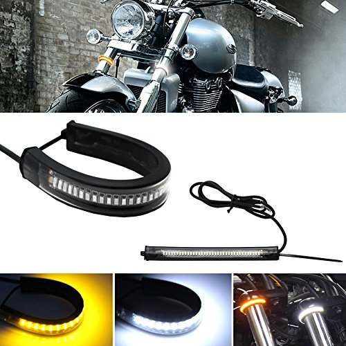 Short Turn Signal Mounts - GTinthebox 2PC Flexible Switchback Dual-Color White & Amber LED Fork Turn Signal DRL Daytime Running Light Waterproof Adjustable Stips Bars kit Universal Fit Motorcycle Bike