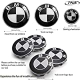 Automotive : Interesting car 7pcs BMW Black and White Emblem,BMW Wheel Center Caps Hub CapsX4,BMW Emblem Logo Replacement for Hood/Trunk,BMW Steering Wheel Emblem Decal