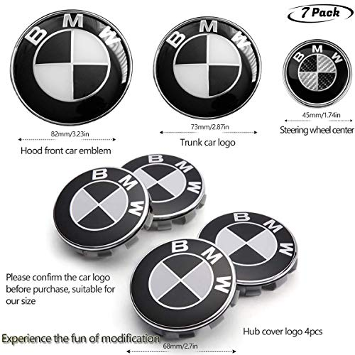 Interesting car 7pcs BMW Black and White Emblem,BMW Wheel Center Caps Hub CapsX4,BMW Emblem Logo Replacement for Hood/Trunk,BMW Steering Wheel Emblem ()
