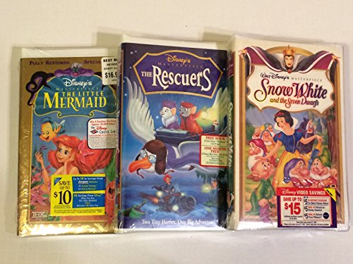 Snow White Special Edition - The Little Mermaid (Special Edition), The Rescuers, Snow White And The Seven Dwarfs (3 VHS Tapes)