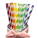 Rainbow 7 Mixed Colorful Stripes Paper Drinking Straws, Charmed Rainbow and Candy Series for Everyday, Wedding, Party Table Decoration Festival Holidays. Real 7 Colors & 175 PCS Pack(Iridescence)