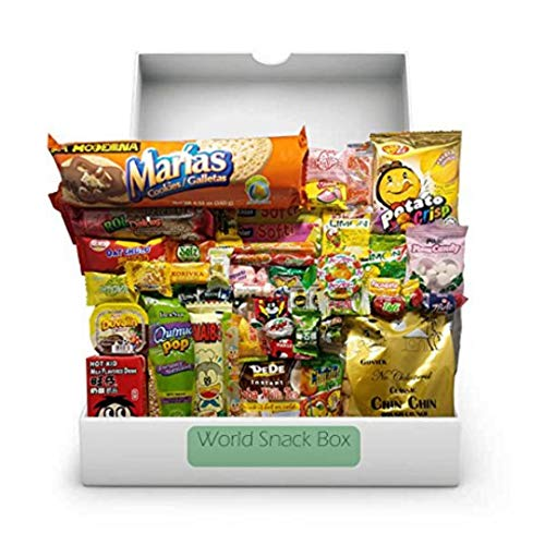 Elite World Snack Sampler Box (50 Count) | 10 big snacks + 40 global candies | Huge Assortment of Asian Snacks, European Treats, Central American Candy and more | Gift Care Package | (Best Cool Box Uk)