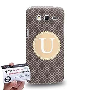 Case88 [Samsung Galaxy Grand 2] 3D impresa Carcasa/Funda dura para & Tarjeta de garantía - Art Typography Fashion Alphabet U Style