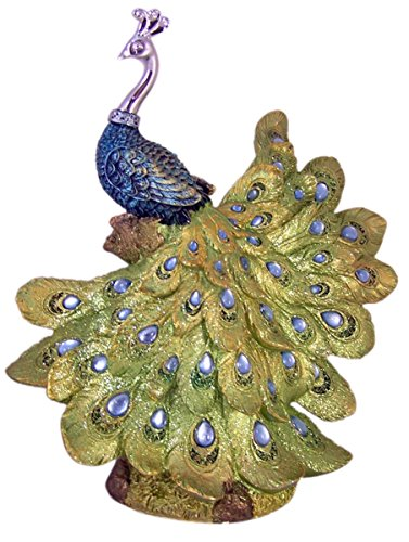 Colorful Resin and Metal Peacock Statue with Glass Bead Details, 13 Inch