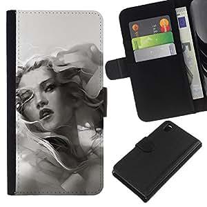 NEECELL GIFT forCITY // Billetera de cuero Caso Cubierta de protección Carcasa / Leather Wallet Case for Sony Xperia Z3 D6603 // Escala de grises Chica