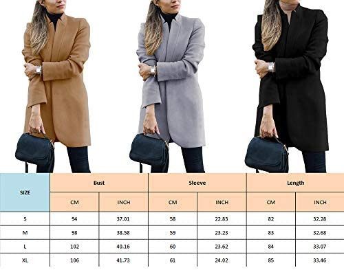 CinShein Women Peacoat Trench Coat Casual Mid Long Overcoat Lapel Open Front Slim Fit Winter Blazer Cardigan Outwear