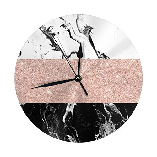 - Milyla-ltd Modern Black White Marble Rose Gold Color Block Stripes Pattern Round Decorative Wall Clock Non Ticking Silent Clocks for Home DecorKitchen Bedroom Living Room School Office 9.8