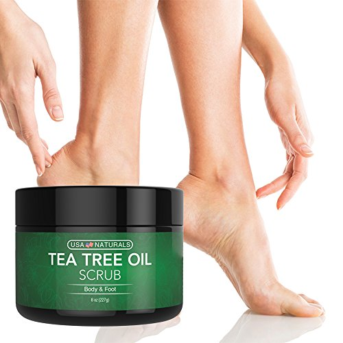 Tea Tree Oil Foot and Body Scrub - Antifungal Treatment - Exfoliating Scrub with a Unique Blend of Essential Oils - Smooths Calluses - Helps With Athlete's Foot, Acne, Jock Itch & Dead, Dry Skin by USA Naturals (Image #2)