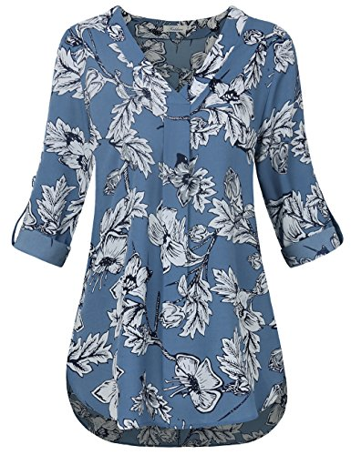 Blue Pattern Shirt (FADDARE Womens Blouses and Tops Dressy, Floral Tops Ladies Loose Fit V Neck T Shirts Women 3/4 Sleeve,Floral Light Blue S)