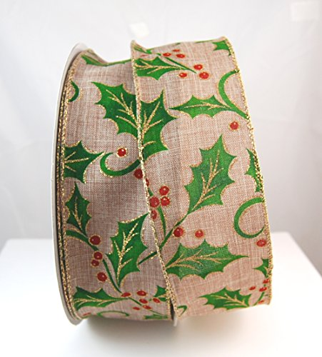 Holly Linen Wired Burlap Style Tan, Red and Green Glitter Holly Ribbon 2 1/2