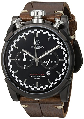 CT-Scuderia-Mens-Check-Flag-Swiss-Quartz-Stainless-Steel-and-Leather-Casual-Watch-ColorBrown-Model-CS10157