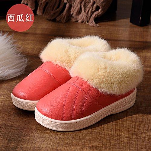 DogHaccd pantofole,Inverno alta aiutare caldo cotone pantofole pacchetto con un paio di uomini e donne home interno più spessa di velluto pu in pelle liscia impermeabile scarpe di cotone,Il rosso36-37