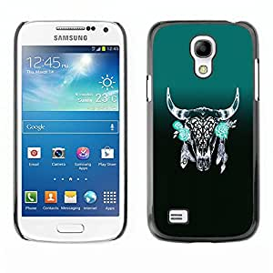 "For Samsung Galaxy S4 Mini (NOT for regular S4) Case , Plumas Cuernos Verde indios nativos"" - Diseño Patrón Teléfono Caso Cubierta Case Bumper Duro Protección Case Cover Funda"