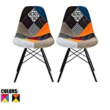2xhome - Set of Two (2) Multicolor – Modern Upholstered Eames Style Side Fabric Chair Patchwork Multi-pattern Black Wood leg Eiffel Dining Room Chair No arm