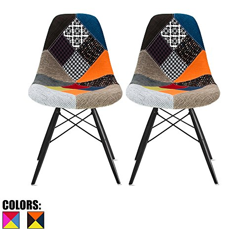 [2xhome - Set of Two (2) Multicolor – Modern Upholstered Eames Style Side Fabric Chair Patchwork Multi-pattern Black Wood leg Eiffel Dining Room Chair No arm] (Eames Fabric)