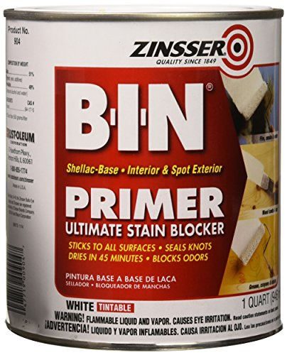 (Zinsser 00904 B-I-N Pigmented Shellac Primer-Sealer & Stain Killer, White, 1 Quart)