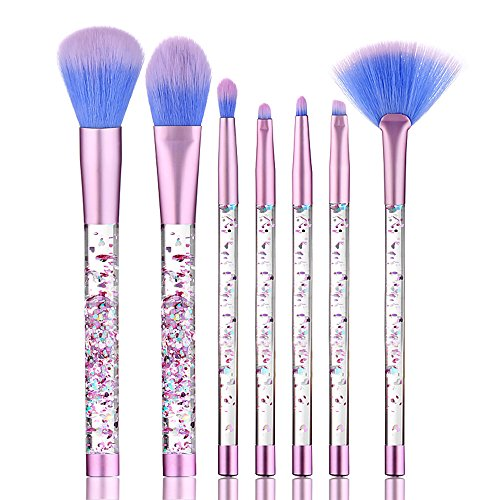 Basic Makeup Brushes with Glitters Handle 7 PCS/ Set Blending Shading Foundation Powder Contour Eyebrow Eyeliner Blush Concealer Cosmetic Tools for Every Makeup Lovers by DMZing (Doll Eyes Makeup Tutorial Halloween)