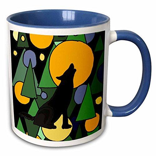 3dRose All Smiles Art Abstract - Colorful Wolf Howling at Moon Abstract Art - 15oz Two-Tone Blue Mug (mug_196101_11) (Pics Of Wolves Howling At The Moon)
