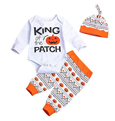 Boys King The Patch 3 Piece Halloween Layette Set (White, 0-3 Months) -