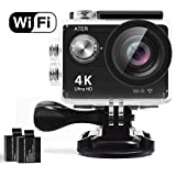 Action Camera, 4K WIFI Sports Action Camera Ultra HD Waterproof DV Camcorder 12MP 2'' LCD 170°Wide-angle Sports Camera with 2 Rechargeable 1050mAh Batteries and Mounting Accessory Kits
