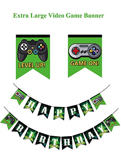 Weimaro Video Game Happy Birthday Banner, Extra Large Gaming Party Supplies with Game On & Level Up Controller Pictures, Party Favors Decorations for Boys and Kids Gamer Birthday Party for $<!--$8.99-->