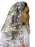 Cathdral Church Veil MassLace Mantilla Chapel Veil Shawl Wrap Y015 (green +blush)