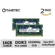 Timetec Hynix IC 16GB Kit(2x8GB) DDR3 1333MHz PC3-10600 Non ECC Unbuffered 1.5V CL9 2Rx8 Dual Rank 204 Pin SODIMM Laptop Notebook Computer Memory Ram Module Upgrade(16GB Kit(2x8GB))