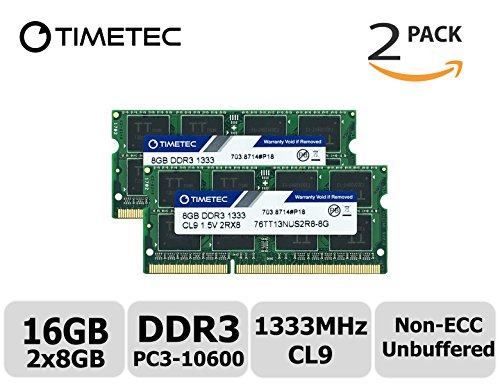 Timetec Hynix IC 16GB Kit(2x8GB) DDR3 1333MHz PC3-10600 Non ECC Unbuffered 1.5V CL9 2Rx8 Dual Rank 204 Pin SODIMM Laptop Notebook Computer Memory Ram Module Upgrade(16GB - Pc Mini Aopen Components