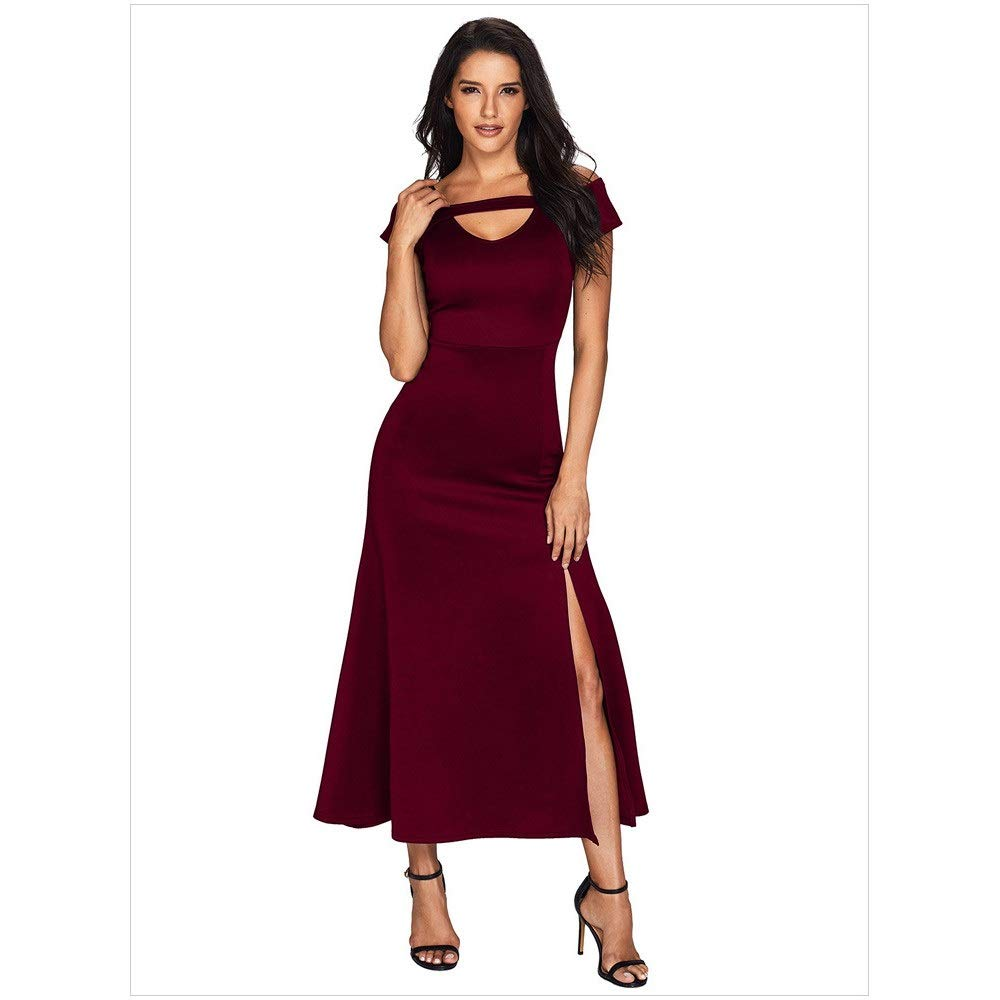 Dark Red Ladies Elegant Bridesmaid Dress Women V Neck Cold Shoulder Long Formal Evening Prom Dress Gowns Stretchy Slit Full Length Short Sleeve Maxi Party Dress Cocktail Dress Nightclub Prom Wedding Party Gown